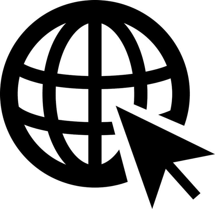 www globe with big pointer arrow