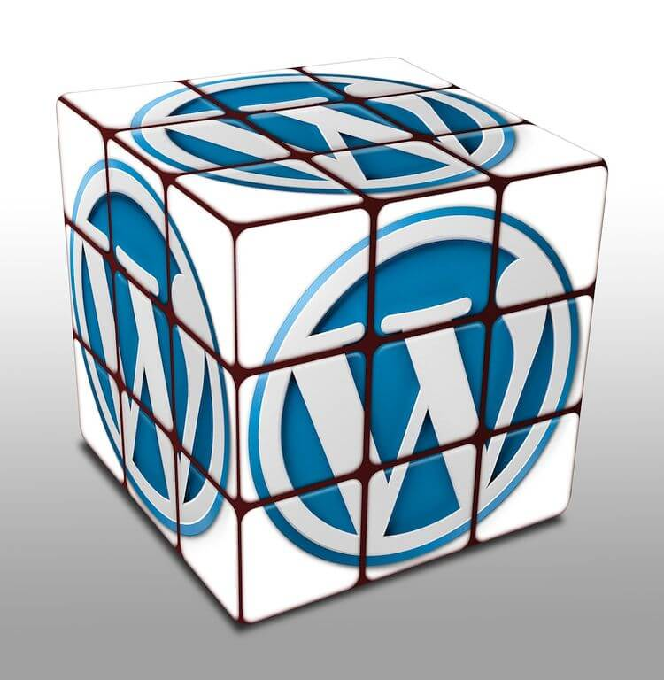 rubiks cube with wordpress logo on each face