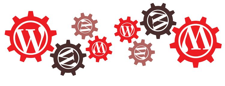 gears with wordpress logo on each one