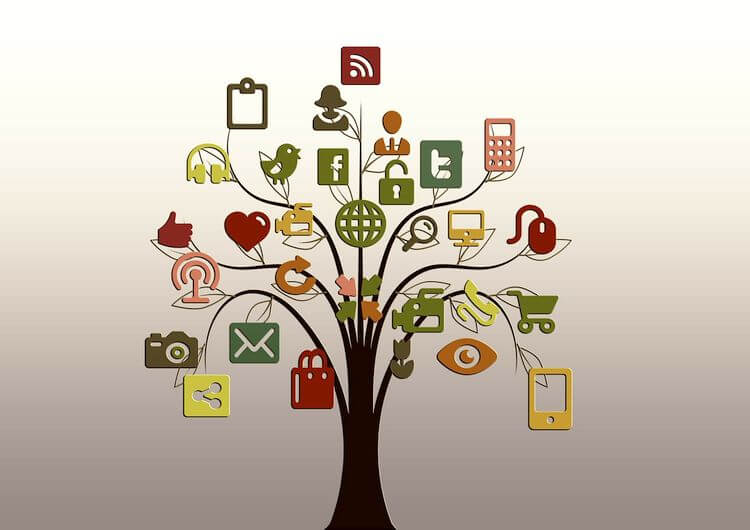 tree with social media icons