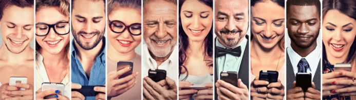 10 people holding mobile phones