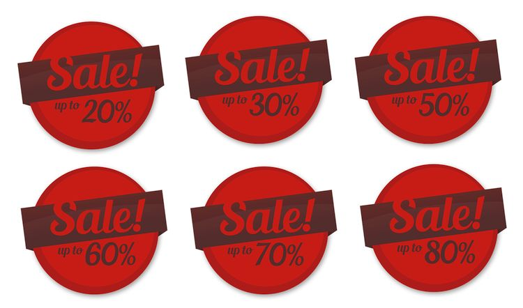 sale stickers with discount percents