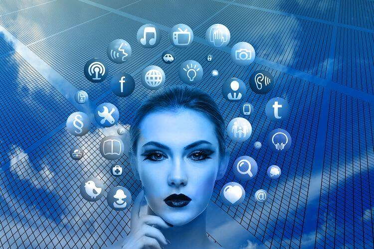 woman surrounded by social media icons