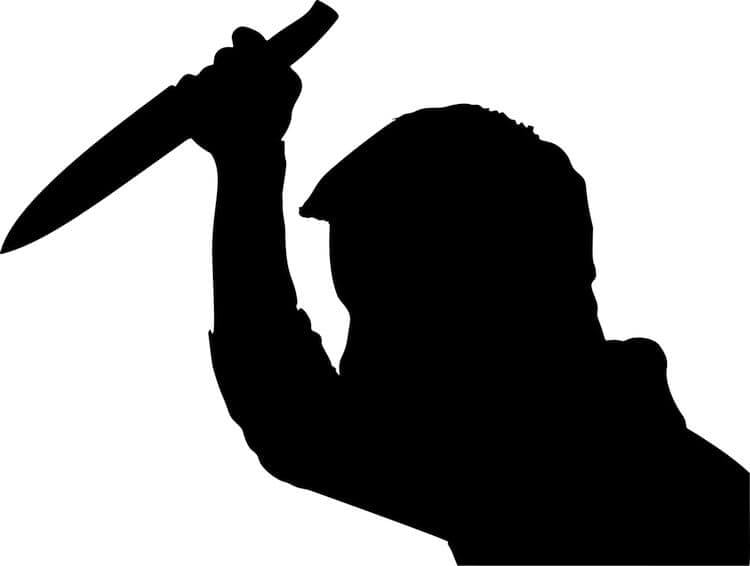 silhouette man with knife