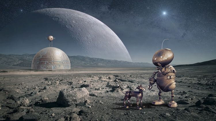 space station with robot and robodog