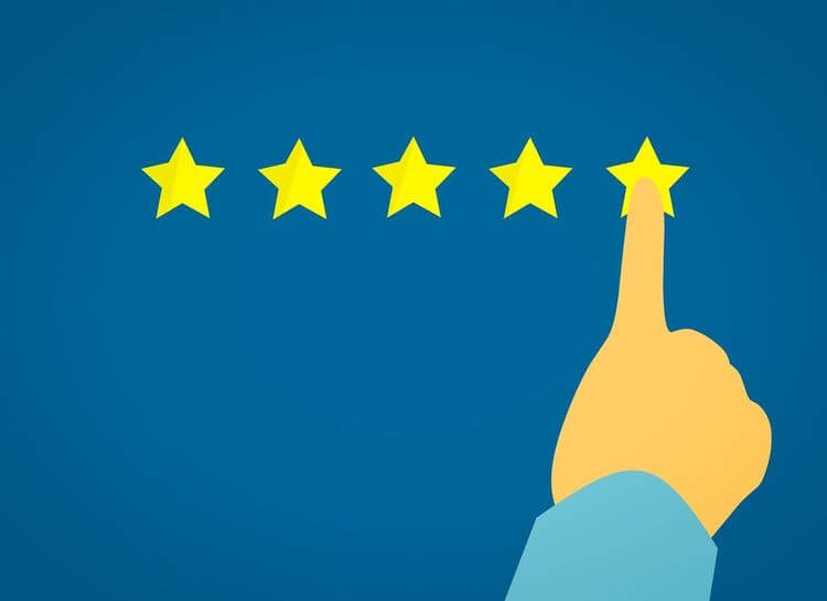 hand pointing to 5 star rating
