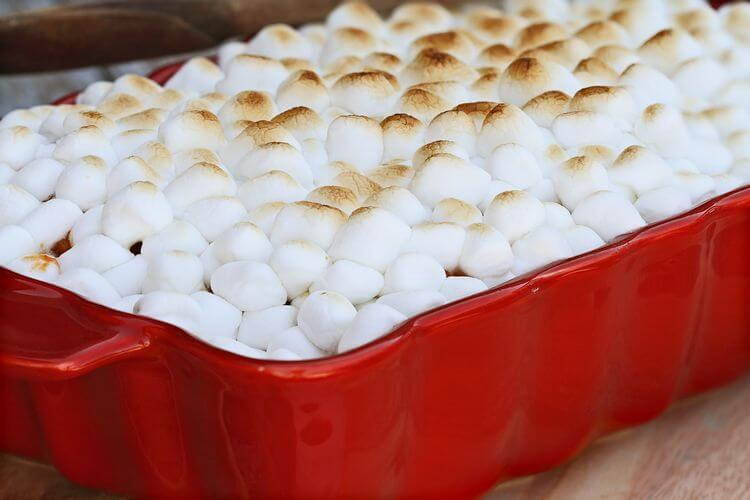 yams with mini marshmallows baked on top