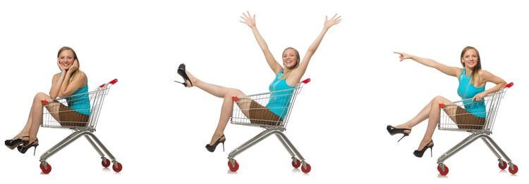 girl inside shopping cart