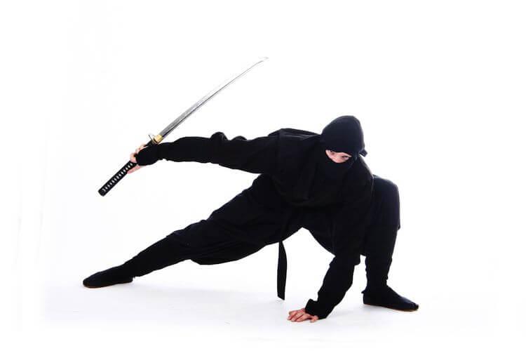 crouched ninja holding sword