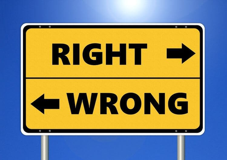 sign with arrows for right and wrong