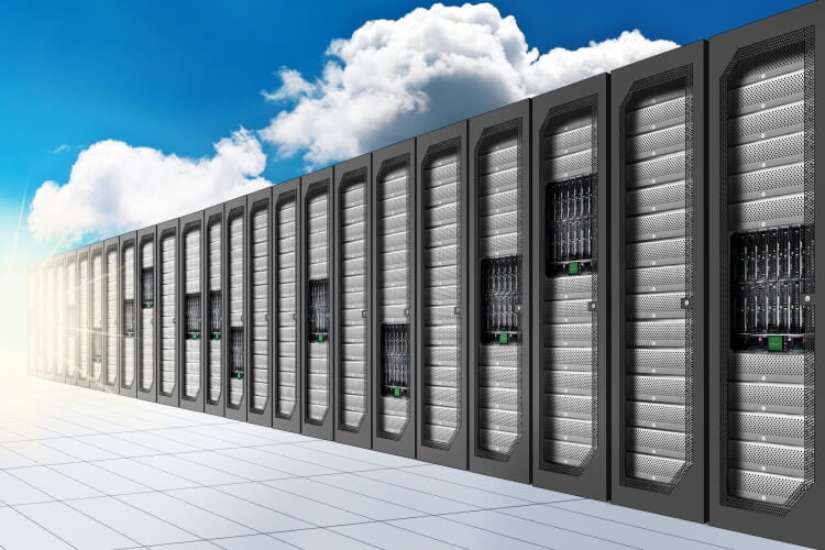 server racks with clouds behind
