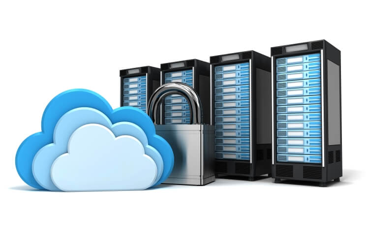 clouds with padlock and server computers