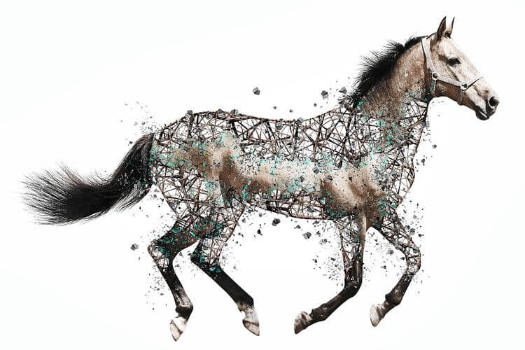 cgi wireframe versus photo of a horse