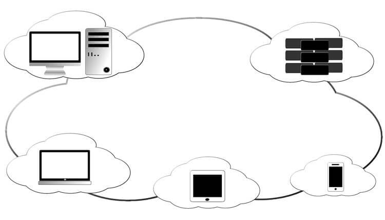 diagram with computers and connected devices