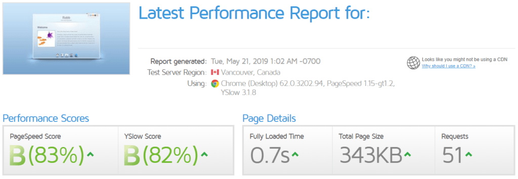 gtmetrix page speed results