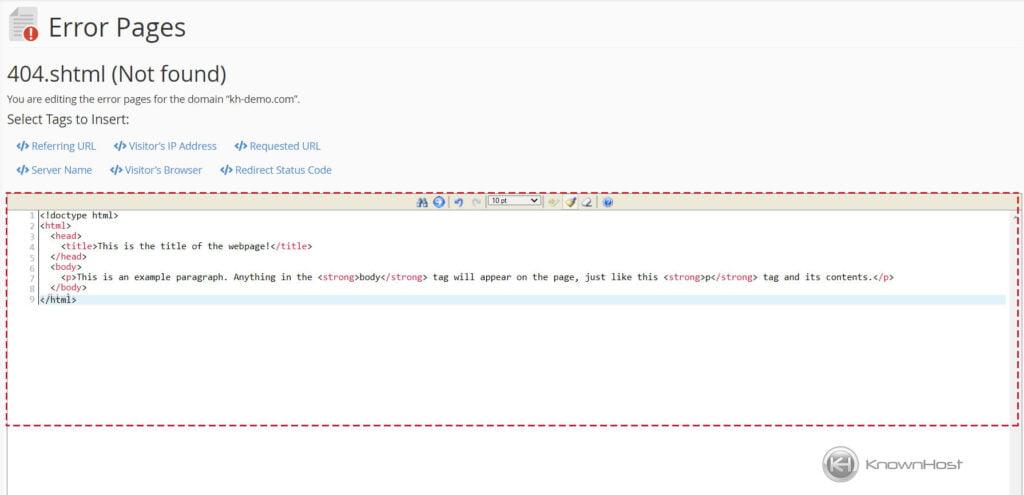 HTML-Code-Paste-Error-Page