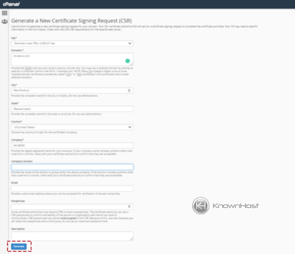 How-to-generate-CSR-for-new-SSL-in-cPanel