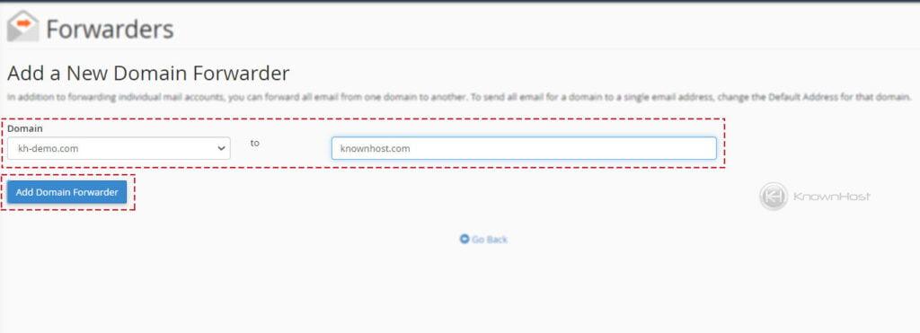 Add new email forwarder