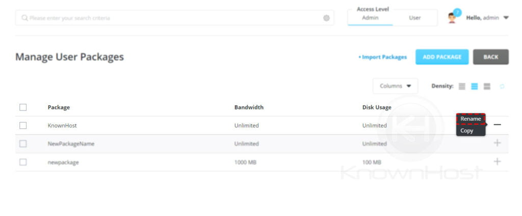 Rename-select-user-package