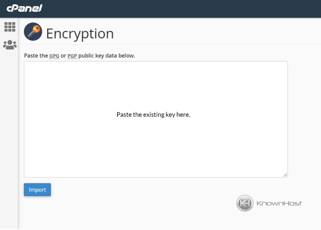 how-to-import-encryption-key-in-cpanel