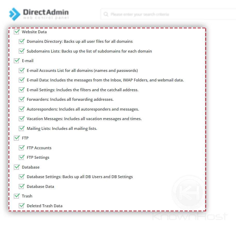 select-all-the-data-directadmin