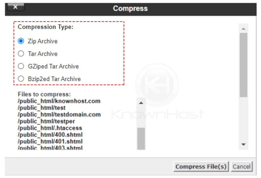select-compression-type-cpanel