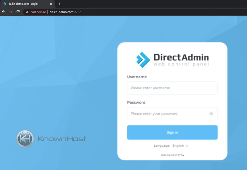 How to login into DirectAdmin